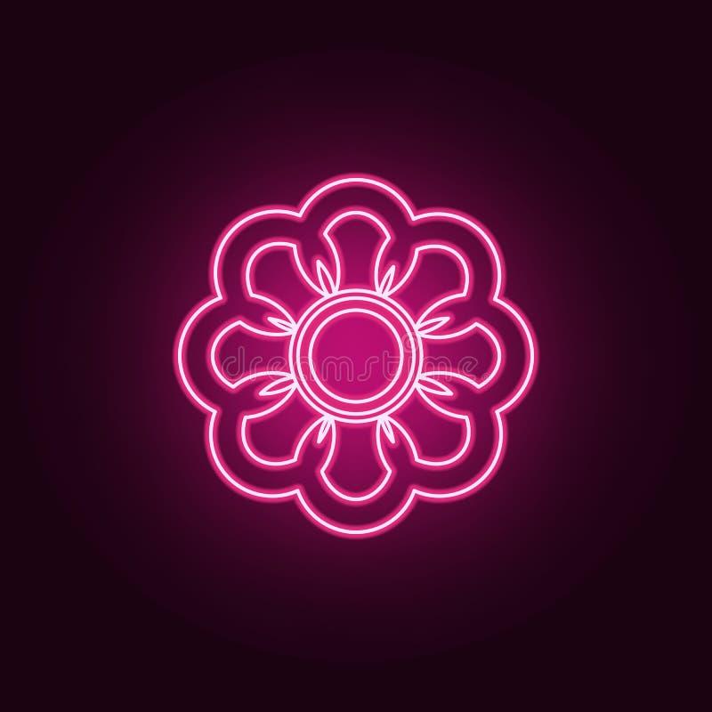 t?a kwiatu ikony ilustracyjny setu wektoru biel Elementy sie? w neonowych stylowych ikonach Prosta ikona dla stron internetowych, ilustracja wektor