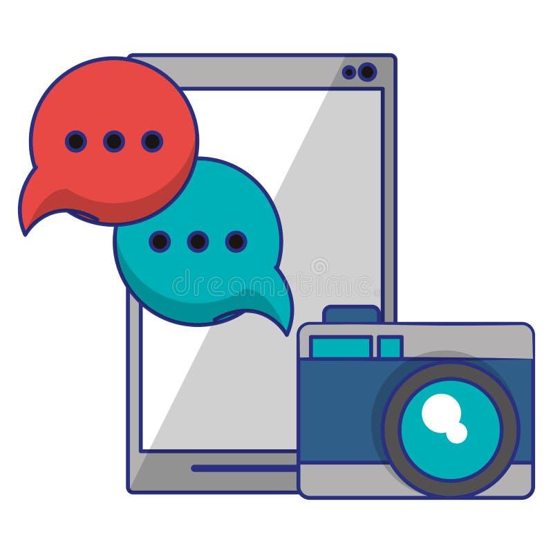 T?l?phone portable avec la bulle de cam?ra et de parole illustration libre de droits