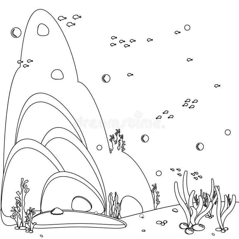 t?a lataj?cy oceanu seagull niebo Panoramy krajobrazowy denny dno Czarny i biały kreskowej sztuki ikona Kolorystyki ksi??ki stron royalty ilustracja