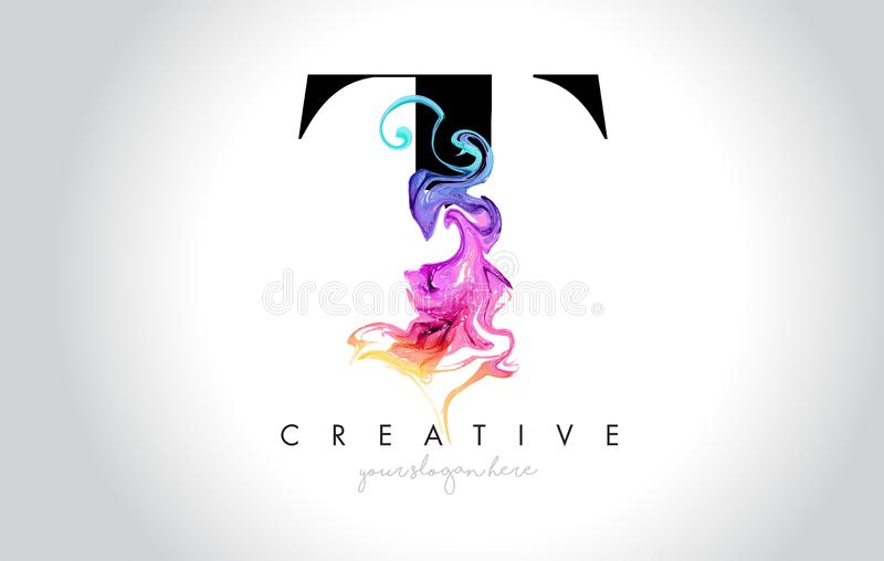 T Leter criativo vibrante Logo Design com tinta colorida Flo do fumo ilustração do vetor