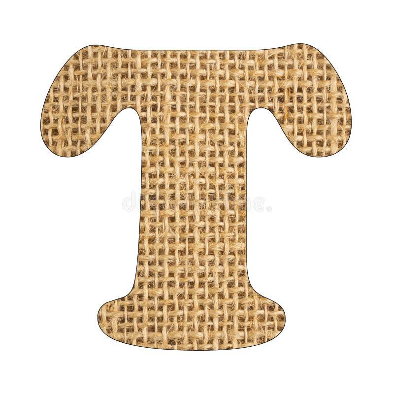 T, Letter of the alphabet - Burlap Background Texture. White background. T, Letter of the alphabet - Burlap Background Texture stock photo