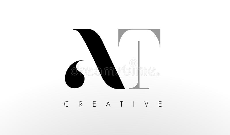 A T Letter Logo Design. Creative AT Letters Icon royalty free illustration