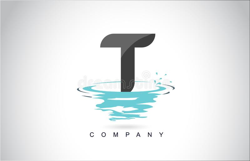 T Letter Logo Design with Water Splash Ripples Drops Reflection. Vector Icon Illustration vector illustration