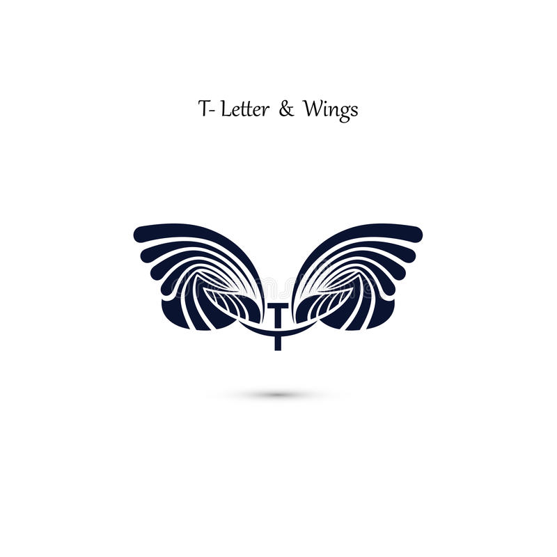 T-letter Sign And Angel Wings.Monogram Wing Vector Logo Template ...