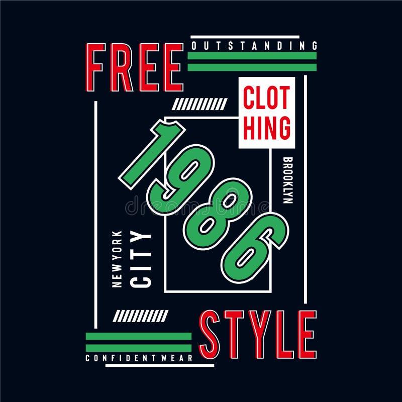 T livre do projeto da tipografia de New York City do estilo para a camisa de t ilustração do vetor