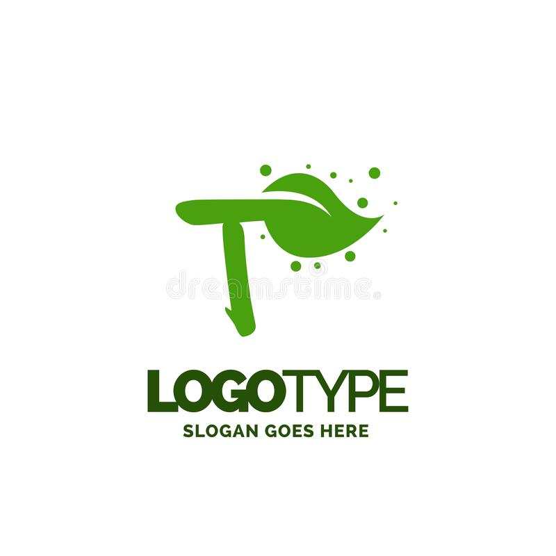 T logo with Leaf Element. Nature Leaf logo designs, Simple leaf. Logo symbol. Natural, eco food. Organic food badges in vector. Vector logos. Natural logos with vector illustration