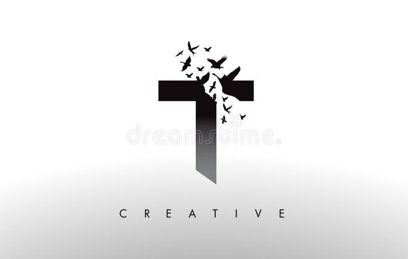 T Logo Letter mit Menge von den Vögeln, die von fliegen und sich auflösen stock abbildung