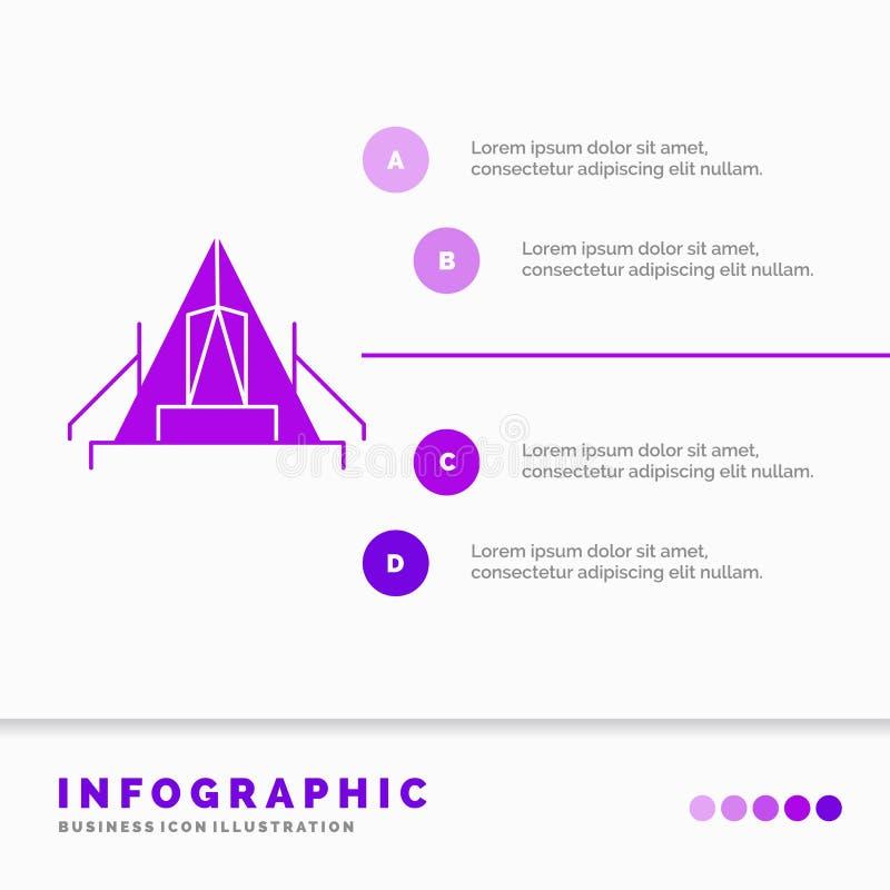 t?lt, campa, l?ger, campingplats, utomhus- Infographics mall f?r Website och presentation Infographic stil f?r sk?ralilasymbol stock illustrationer