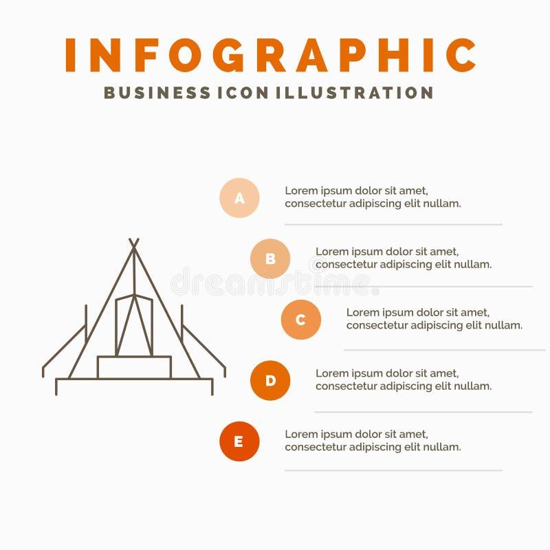 t?lt, campa, l?ger, campingplats, utomhus- Infographics mall f?r Website och presentation Linje gr? symbol med orange infographic stock illustrationer