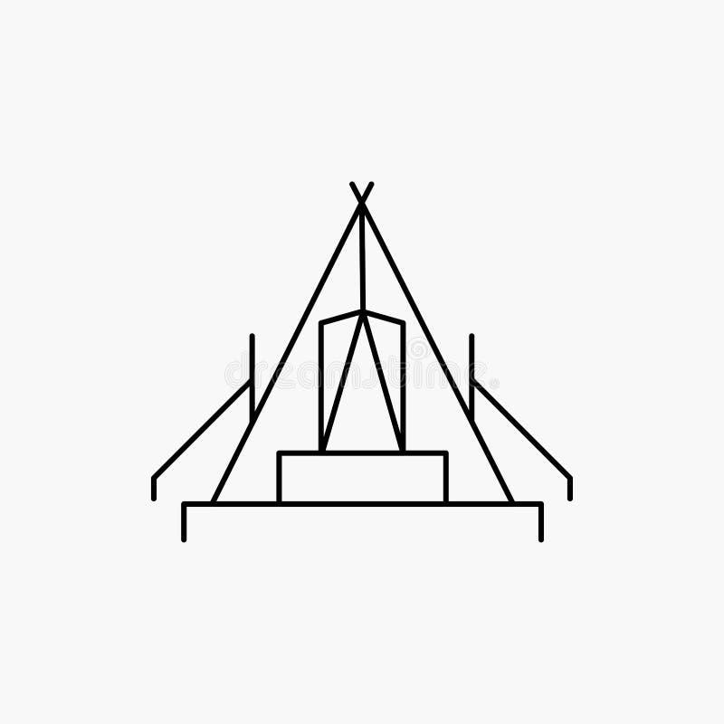 t?lt som campar, l?ger, campingplats, utomhus- linje symbol Vektor isolerad illustration vektor illustrationer