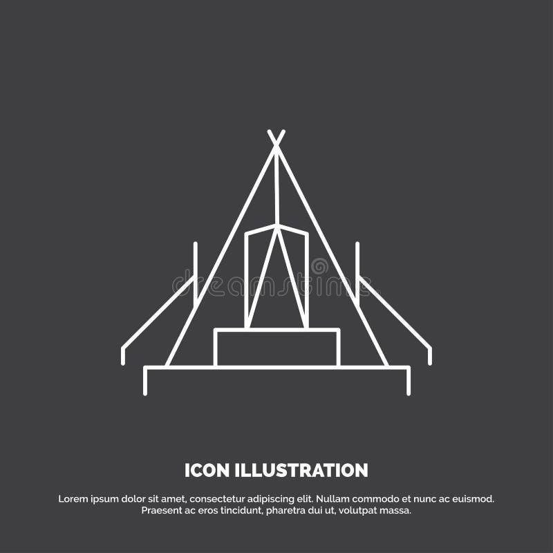 t?lt som campar, l?ger, campingplats, utomhus- symbol Linje vektorsymbol f?r UI och UX, website eller mobil applikation stock illustrationer