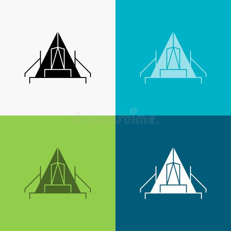 t?lt som campar, l?ger, campingplats, utomhus- symbol ?ver olik bakgrund sk?rastildesign som planl?ggs f?r reng?ringsduk och app  stock illustrationer