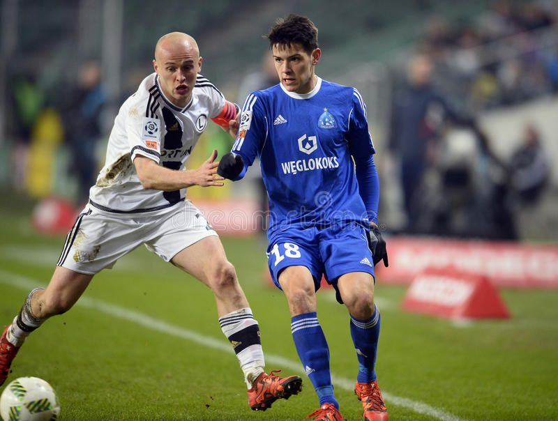 T-Mobile Extra League Legia Warsaw Ruch Chorzow. WARSAW, POLAND - FEBRUARY 28, 2016: T-Mobile Extra League Polish Premier Football League Legia Warsaw Ruch stock images
