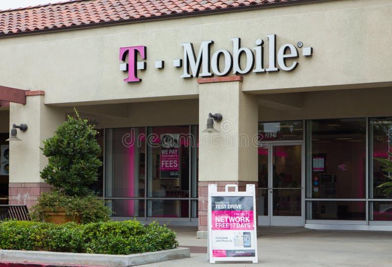 T-Mobile lageryttersida royaltyfri bild