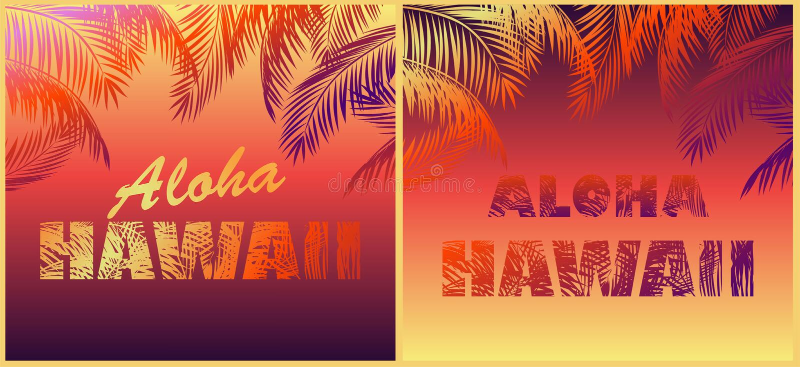 T mody druków koszulowa neonowa różnica dla plażowego nocy przyjęcia z Hawaje literowaniem i kolorowymi palmowymi liśćmi Aloha ilustracja wektor