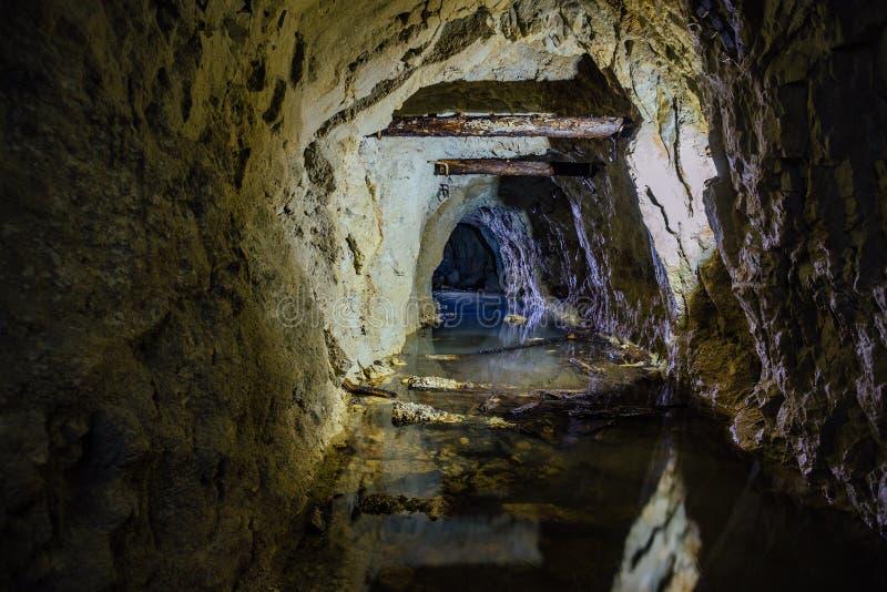 T?nel abandonado inundado sucio espeluznante oscuro de la mina foto de archivo