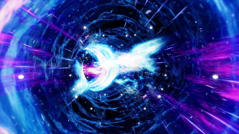 t?nel o wormhole, t?nel del ejemplo 3D que puede conectar un universo con otro Deformaci?n abstracta del t?nel de la velocidad ad stock de ilustración