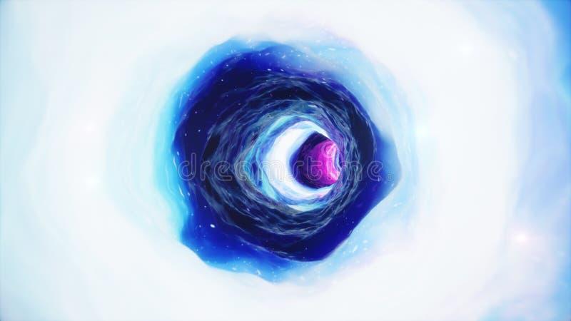 t?nel o wormhole, t?nel del ejemplo 3D que puede conectar un universo con otro Deformaci?n abstracta del t?nel de la velocidad ad libre illustration