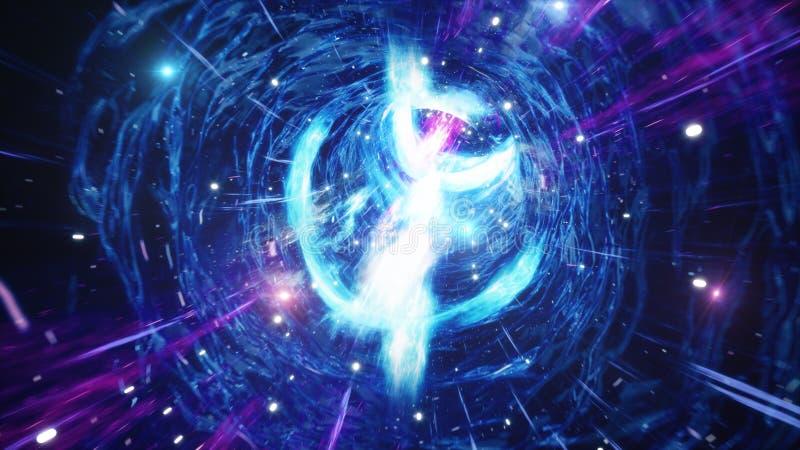 t?nel o wormhole, t?nel del ejemplo 3D que puede conectar un universo con otro Deformaci?n abstracta del t?nel de la velocidad ad ilustración del vector