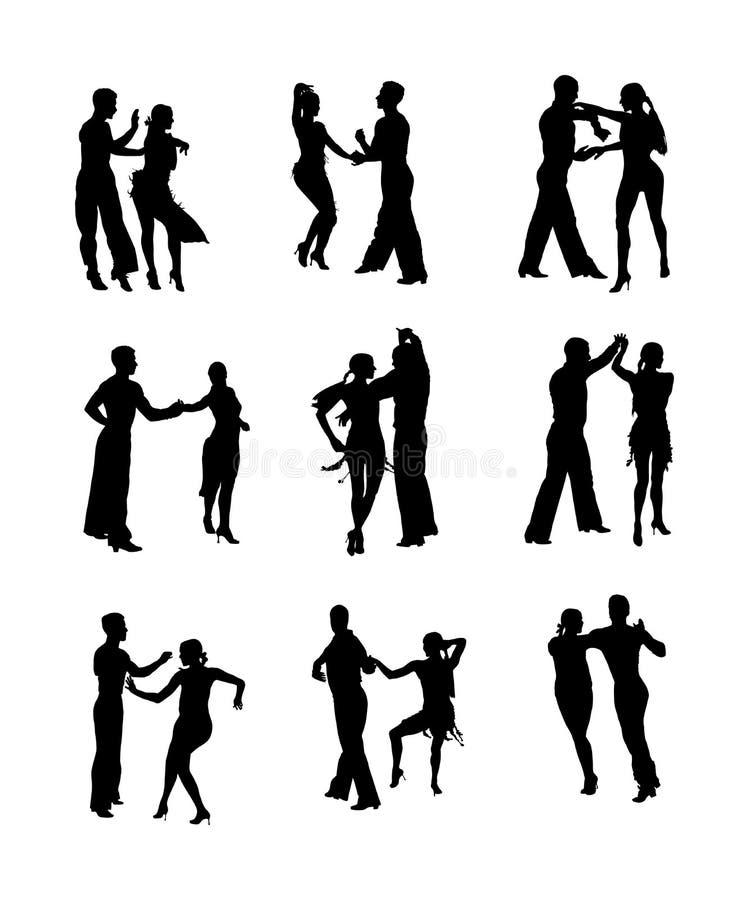 T?nzer-Vektorschattenbild des Eleganztangos Latino lokalisiert auf wei?em Hintergrund Tanzenpaare? getrennt auf Wei? Partnertanzs stock abbildung