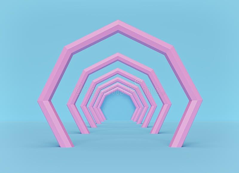 t?o abstrakcjonistyczna moda minimalny tunel Menchie i b??kitni pastelowi kolory ?wiadczenia 3 d ilustracja wektor