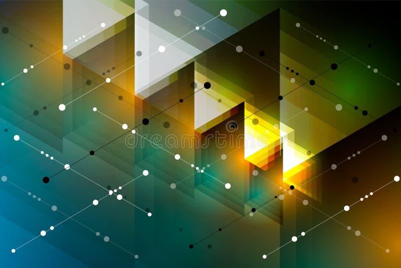 t?o abstrakcyjna technologii Futurystyczny technologia interfejs z geometrycznymi kształtami, liniami i kropkami, ilustracji