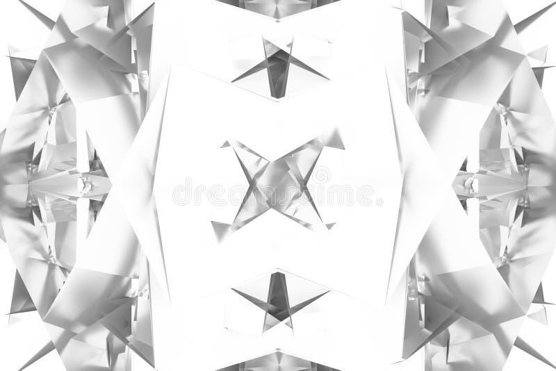 T?o abstrakta CGI, przypadkowy geometryczny t?o dla projekta, graficzny zasoby Szary lub czarny i bia?y b&w 3D odp?aca si? royalty ilustracja