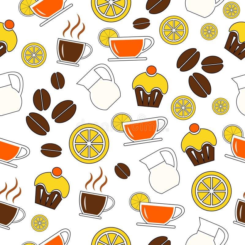 t?o bezszwowy wektora Set napoje, kawa i pieczenie, Projekt dla tkaniny, tkanina, papier, tapeta, sie? retro Rocznik royalty ilustracja