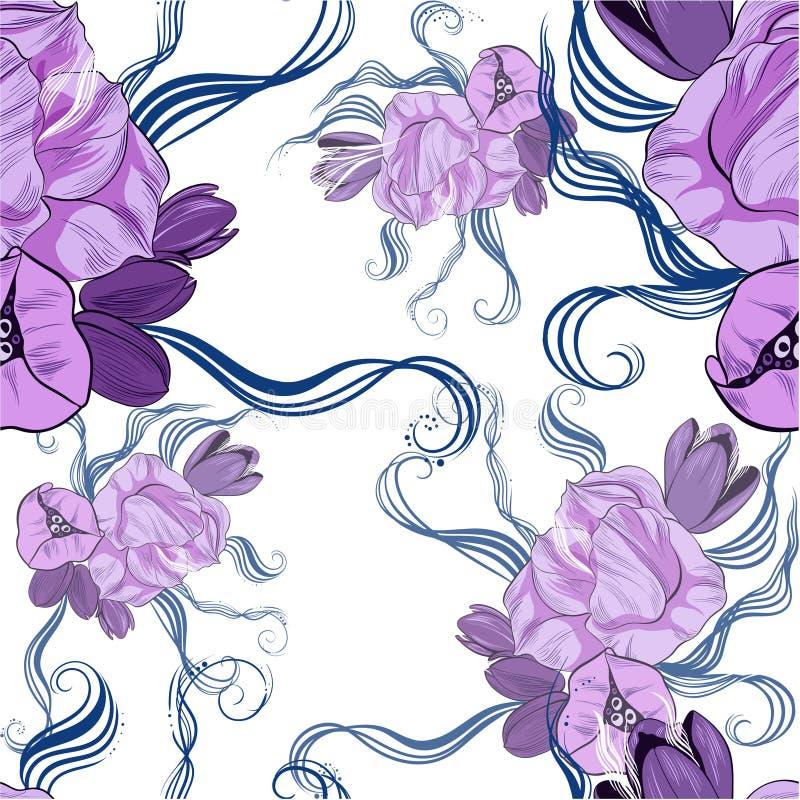t?o bezszwowy wektora Stylizowany wizerunek wiosna p?czki i kwiaty ilustracji