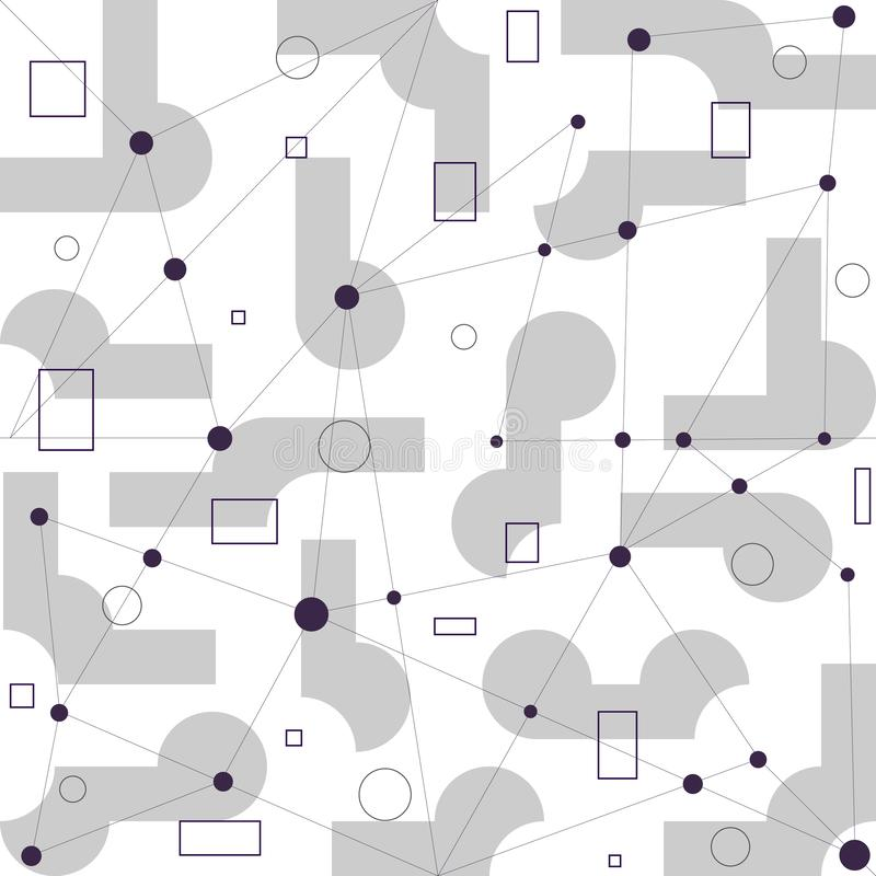 t?o geometrycznego abstrakcyjne Okręgi, kwadraty, prostokąty, linie royalty ilustracja