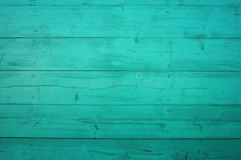 T?o od starych pod?awych drewnianych desek Turkusowa drewniana tekstura z obieranie farb? zdjęcie stock