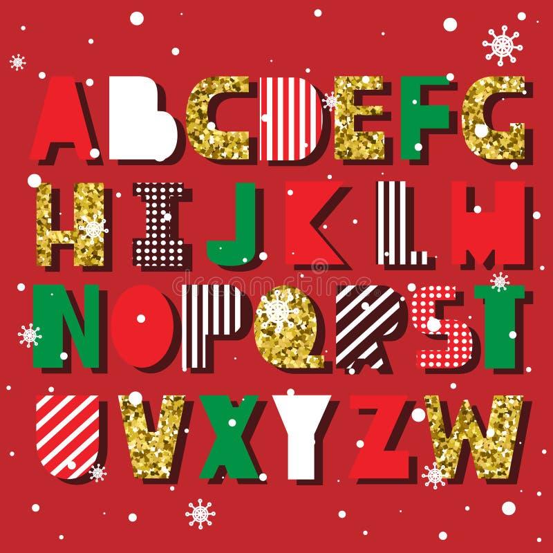 T?o z setem dekoracyjni angielscy listy Kolorowy abecadło, śnieg Świąteczna chrzcielnica, Szczęśliwy nowy rok royalty ilustracja