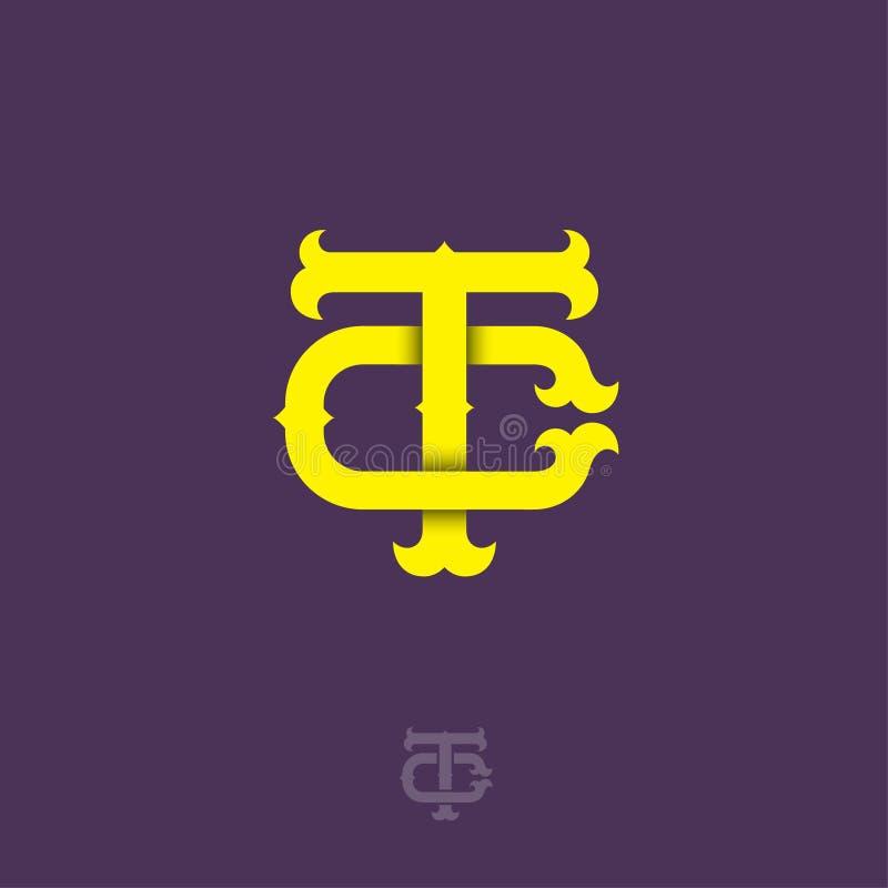 T- och c-monogram T och C korsade bokstäver, flätade samman bokstavsinitialer royaltyfri illustrationer