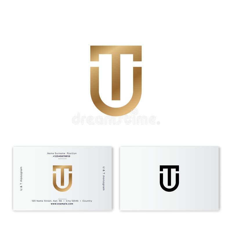 T- och U-monogram Bokstav för T-bokstav U som en guld- sköld Digital logo Plant stilemblem stock illustrationer