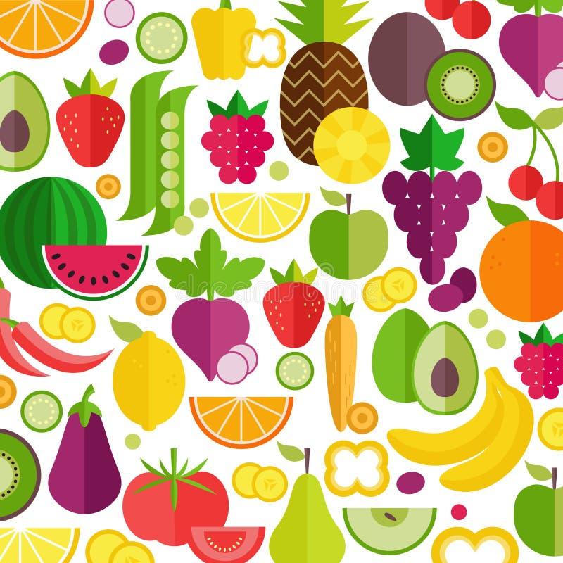 t?a owoc warzywa Organicznie i Zdrowy jedzenie Mieszkanie styl, wektorowa ilustracja royalty ilustracja