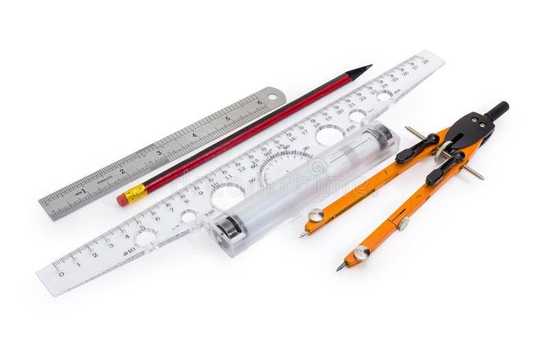 T-quadrado com inércia da régua do rolo, lápis, régua de medição, tirando fotografia de stock royalty free