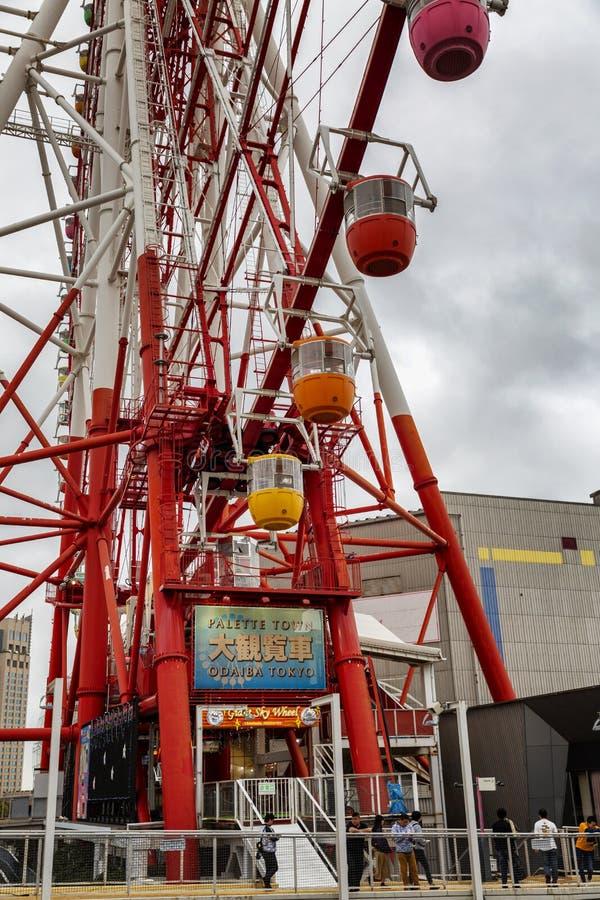 T?quio, Jap?o, 04/08/2017 Roda de Ferris na ilha Odaiba foto de stock royalty free