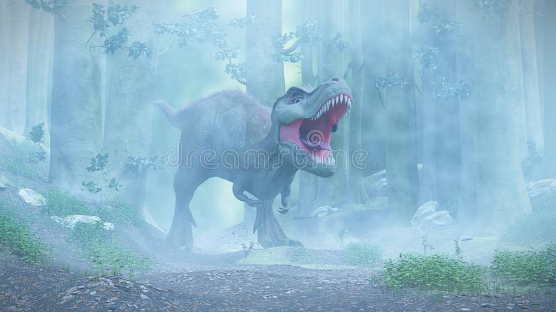 T rex,暴龙走通过一个有雾的森林的rex恐龙 库存例证