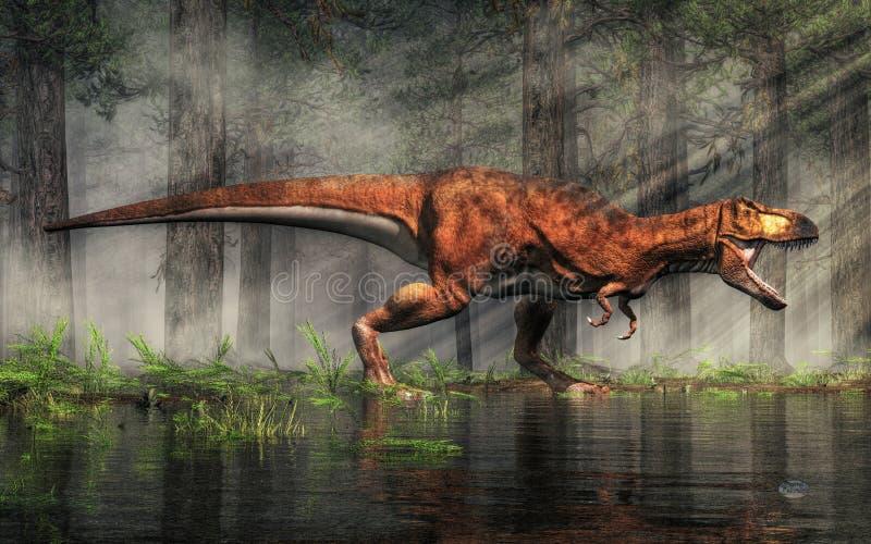 T-Rex озером лес иллюстрация штока