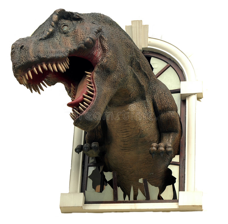 T-Rex. Coming out of a window