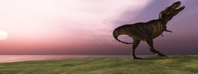 T-Rex au lever de soleil photos stock