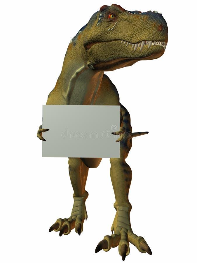 T-Rex com sinal ilustração stock