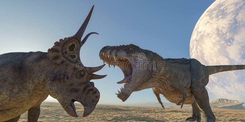 T-rex contre des diabloceratops illustration stock