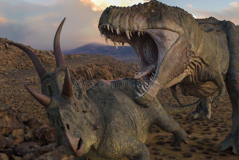 T-rex contro i diabloceratops royalty illustrazione gratis