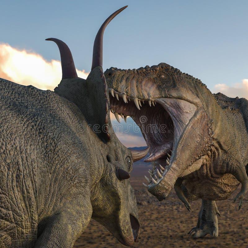 T-rex contro i diabloceratops illustrazione vettoriale