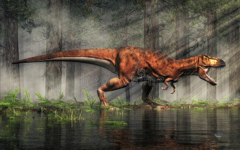 T-Rex da Forest Lake illustrazione di stock