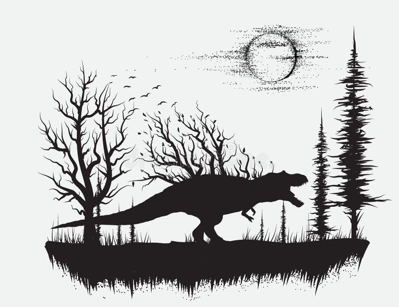 T-rex de dinosaure dans la forêt étrange illustration libre de droits