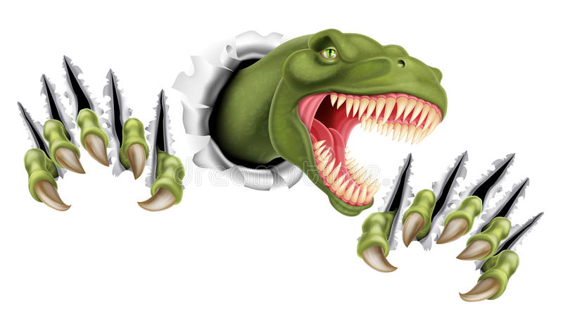 T Rex Dinosaur Breaking Through royalty-vrije illustratie