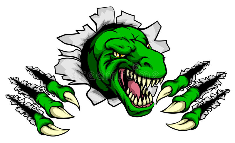 T Rex Dinosaur Clawing Hole à l'arrière-plan illustration de vecteur