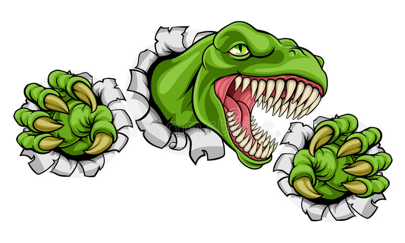 T Rex Dinosaur Clawing Hole i bakgrund stock illustrationer